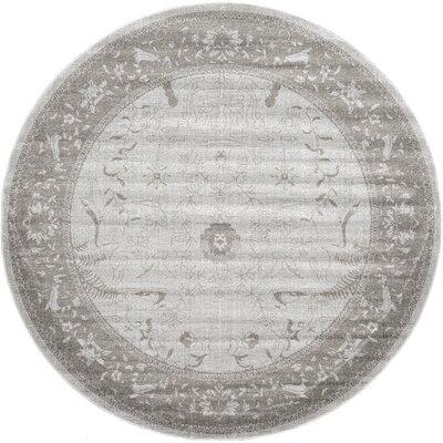 Shailene Light Gray Area Rug Rug Size: Round 8