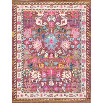 Iris Pink Area Rug Rug Size: Rectangle 9 x 12