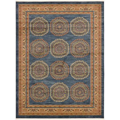 Virginia Blue/Brown Area Rug Rug Size: 9 x 12