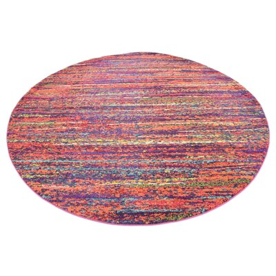 Lilian Red Area Rug Rug Size: Round 8