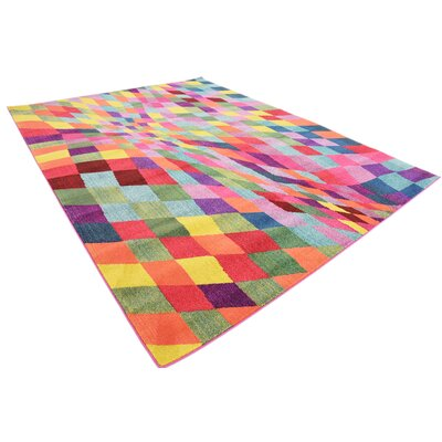 Oldsmar Pink/Green Area Rug Rug Size: Rectangle 9 x 12