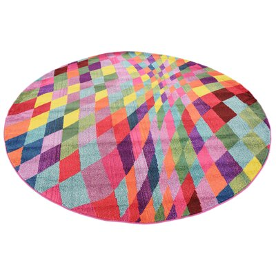 Oldsmar Pink/Green Area Rug Rug Size: Round 8