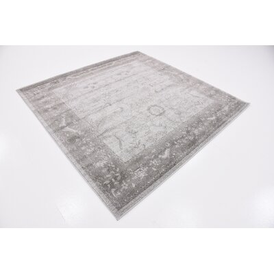 Imperial Gray & Green Area Rug Rug Size: Square 6