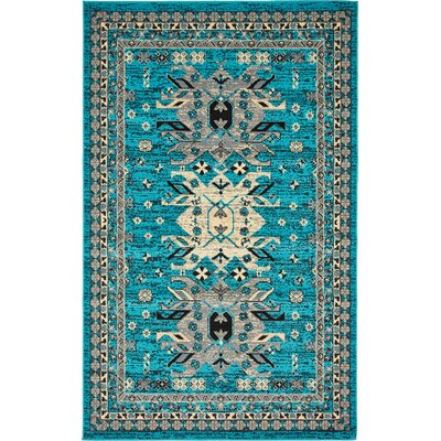 Sina Turquoise Area Rug Rug Size: Rectangle 5 x 8