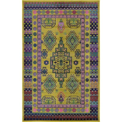 Iris Gold Area Rug Rug Size: 5 x 8