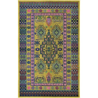 Iris Gold Area Rug Rug Size: 33 x 53
