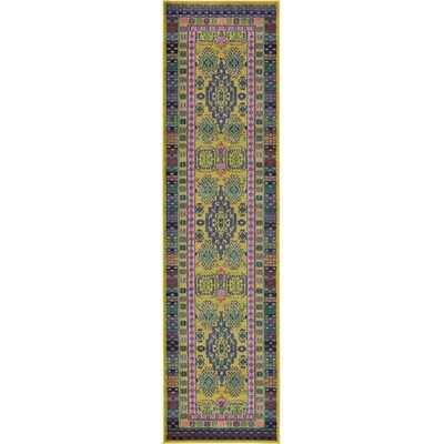 Iris Gold Area Rug Rug Size: Runner 27 x 10