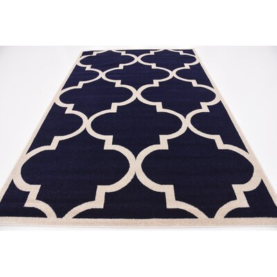 Navy Blue Area Rug Rug Size: Round 6