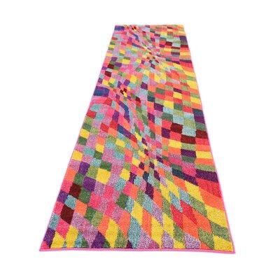 Oldsmar Pink/Green Area Rug Rug Size: Runner 27 x 10