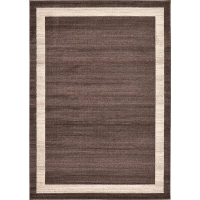 Christi Brown/Beige Color Bordered Area Rug Rug Size: 7 x 10