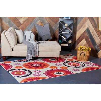 Roshan Beige Area Rug Rug Size: Rectangle 7 x 10