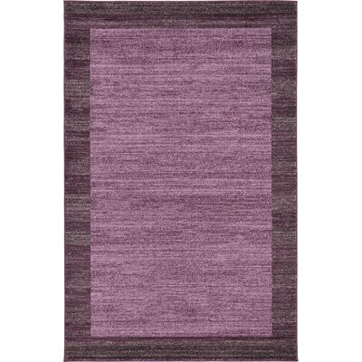 Christi Purple Color Bordered Area Rug Rug Size: 5 x 8
