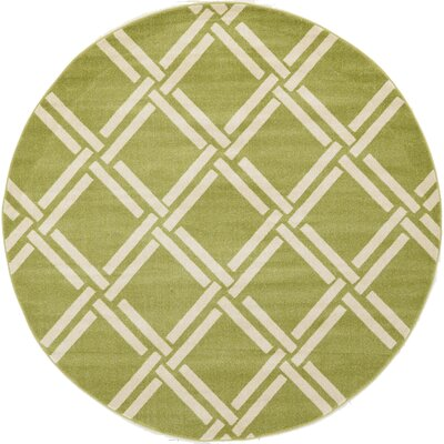 Storyvale Green Area Rug Rug Size: Round 8