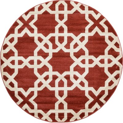 Molly Dark Terracotta Area Rug Rug Size: Round 6