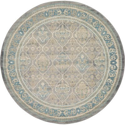 Kerensa Grey & Silver Area Rug Rug Size: Round 8