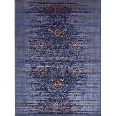 Florence Navy Blue/Gray Area Rug Rug Size: 10 x 13