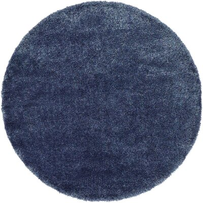 Evelyn Navy Blue Area Rug Rug Size: Round 6