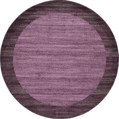 Christi Purple Color Bordered Area Rug Rug Size: Round 8