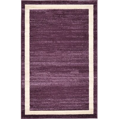 Christi Purple/Beige Area Rug Rug Size: 33 x 53