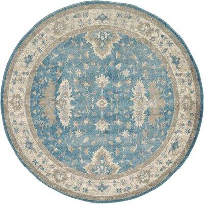 Kerensa�Light Blue Area Rug Rug Size: Round 73