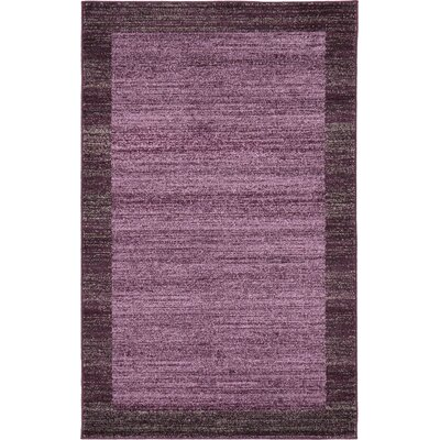 Christi Purple Color Bordered Area Rug Rug Size: 33 x 53