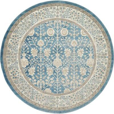 Kerensa�Light Blue Area Rug Rug Size: Round 8