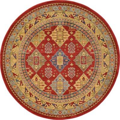 Jana Red Tibetan Area Rug Rug Size: Round 6