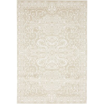 Mathieu Snow White/Beige Area Rug Rug Size: Rectangle 4 x 6