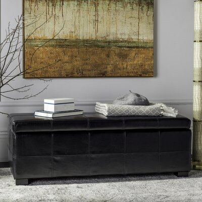 Madison Leather Storage Bench Color: Black