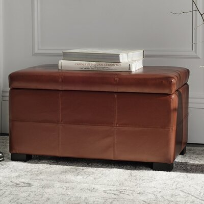 Maiden Leather Ottoman Upholstery: Red
