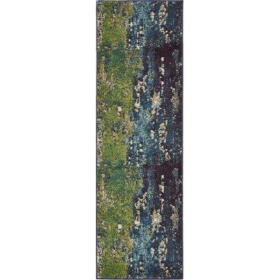 Tavistock Green/Navy Blue Area Rug Rug Size: Runner 22 x 67