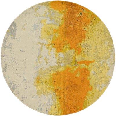 Tavistock Yellow Area Rug Rug Size: Round 8