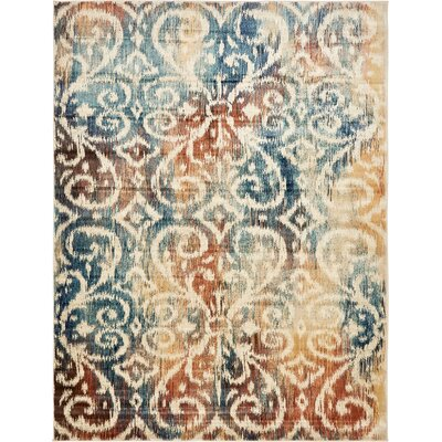 Jani Beige/Blue Ikat Area Rug Rug Size: Rectangle 9 x 12