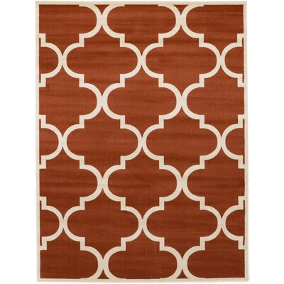 Moore Rust Red Area Rug Rug Size: Round 8