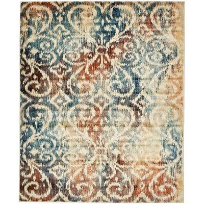 Jani Beige/Blue Ikat Area Rug Rug Size: Rectangle 8 x 10