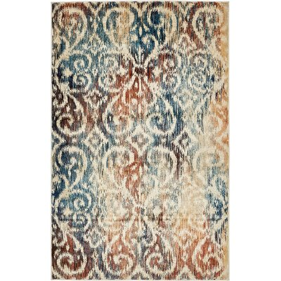 Jani Beige/Blue Ikat Area Rug Rug Size: Rectangle 5 x 8