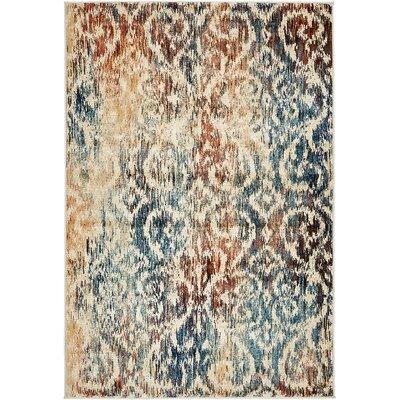 Jani Beige/Blue Ikat Area Rug Rug Size: 4 x 6