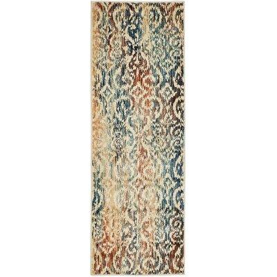 Jani Beige/Blue Ikat Area Rug Rug Size: Runner 2 x 6