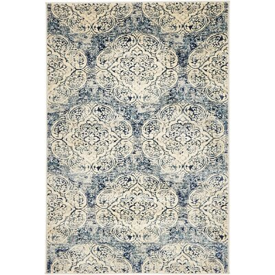 Jani Beige/Blue Abstract Area Rug Rug Size: 4 x 6