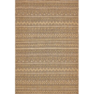 Lukas Light Brown Outdoor Area Rug Rug Size: Rectangle 6 x 9