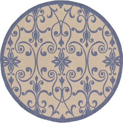 Hoyne Blue Outdoor Area Rug Rug Size: Round 6