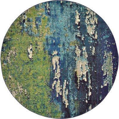 Tavistock Green/Navy Blue Area Rug Rug Size: Round 8