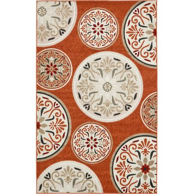 Niagara Orange/Beige Indoor/Outdoor Area Rug Rug Size: 5 x 8