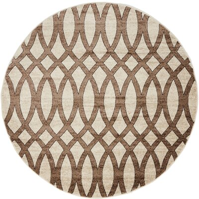 Greene Brown/Beige Area Rug Rug Size: Round 5