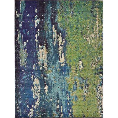 Tavistock Green/Navy Blue Area Rug Rug Size: 9 x 12