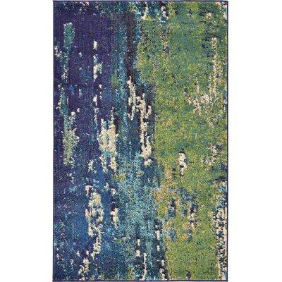 Tavistock Green/Navy Blue Area Rug Rug Size: 33 x 53