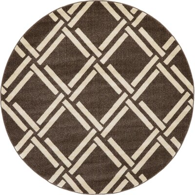 Seagate Brown Area Rug Rug Size: Round 6