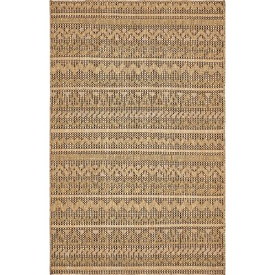 Lukas Light Brown Outdoor Area Rug Rug Size: 5 x 8