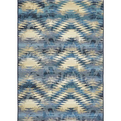Avila Blue Abstract Indoor/Outdoor Area Rug Rug Size: Rectangle 4 x 6
