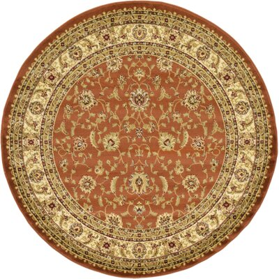 Fairmount Brick Red Area Rug Rug Size: Round 6